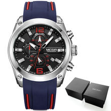 Мужские аналоговые кварцевые часы Megir с хронографом и датой, светящиеся стрелки, водонепроницаемые наручные часы для мужчины с силиконовым ...(China)