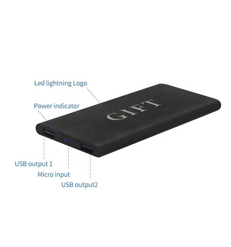 new ultra thin custom gifts power bank charger 5000mah high capacity led light logo powerbank with dual USB output