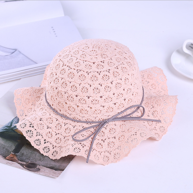 children child baby kids beautiful fashion summer sandbeach straw hat promotion for girl with lace and flower sunhats