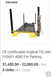 Cheap price two post hydraulic car parking lift and used lift hoists for SUV and sedans park and slide garage