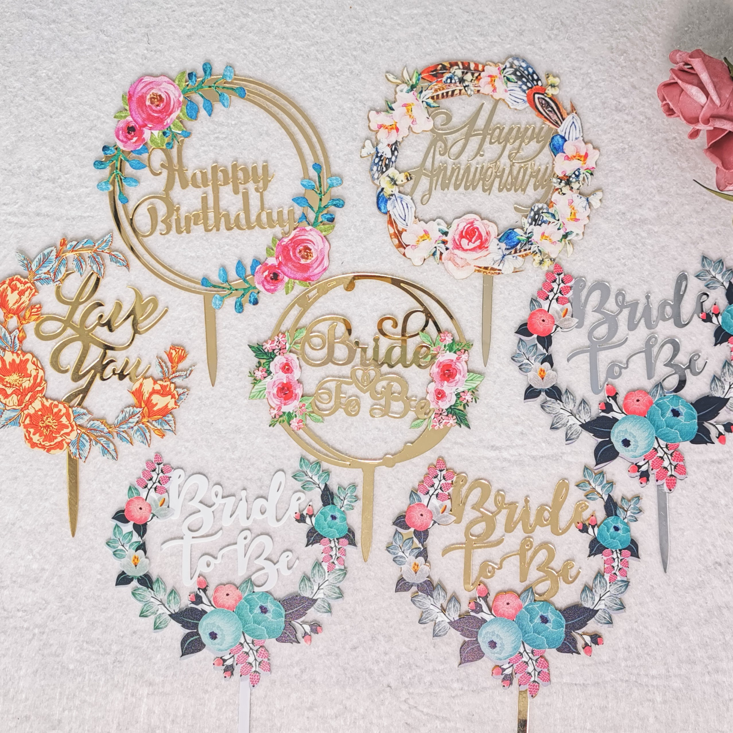 Floral Flower Printing <strong>Cake</strong> Topper Happy Birthday Acrylic <strong>Cake</strong> Toppers