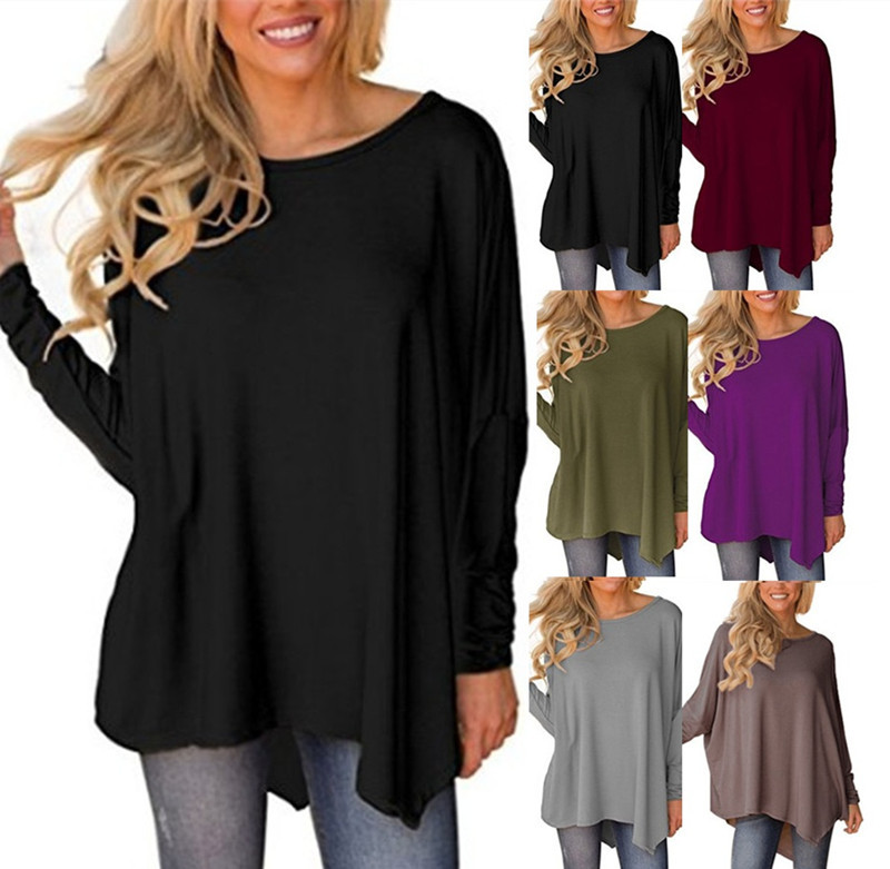 Women Solid Batwing Sleeve Pullover Tunic Tops Round Neck Loose <strong>Blouses</strong> Tops Long Sleeve <strong>Lace</strong> Scoop Neck A-Line Tunic <strong>Blouse</strong>