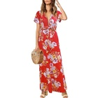 Autumn Short sleeves Floral Print lady dresses women Casual Maxi dress