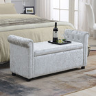 Bench With Reatai Modern White Velvet Fabric Storage Antique Bedroom Upholstered Bench With Arm For Bedroom