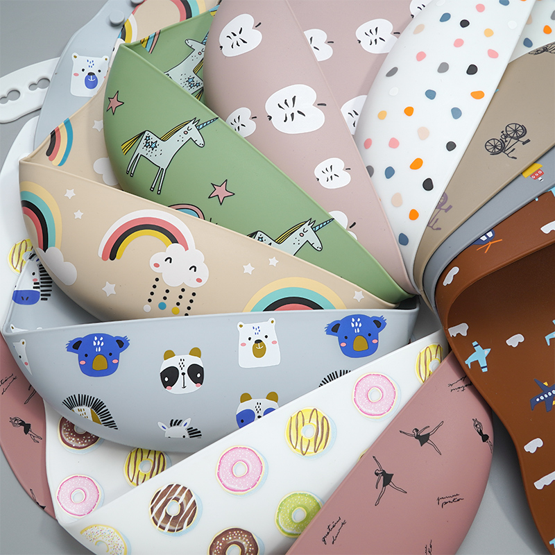 Waterproof Safety Printing Silicone Bibs Foldable Silicone Bibs Washable Baby Bibs