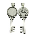 Best Selling Vintage Key Shape Jewelry Alloy Pendant Blank Alloy Pendant Tray Fit 18mm Cabochon