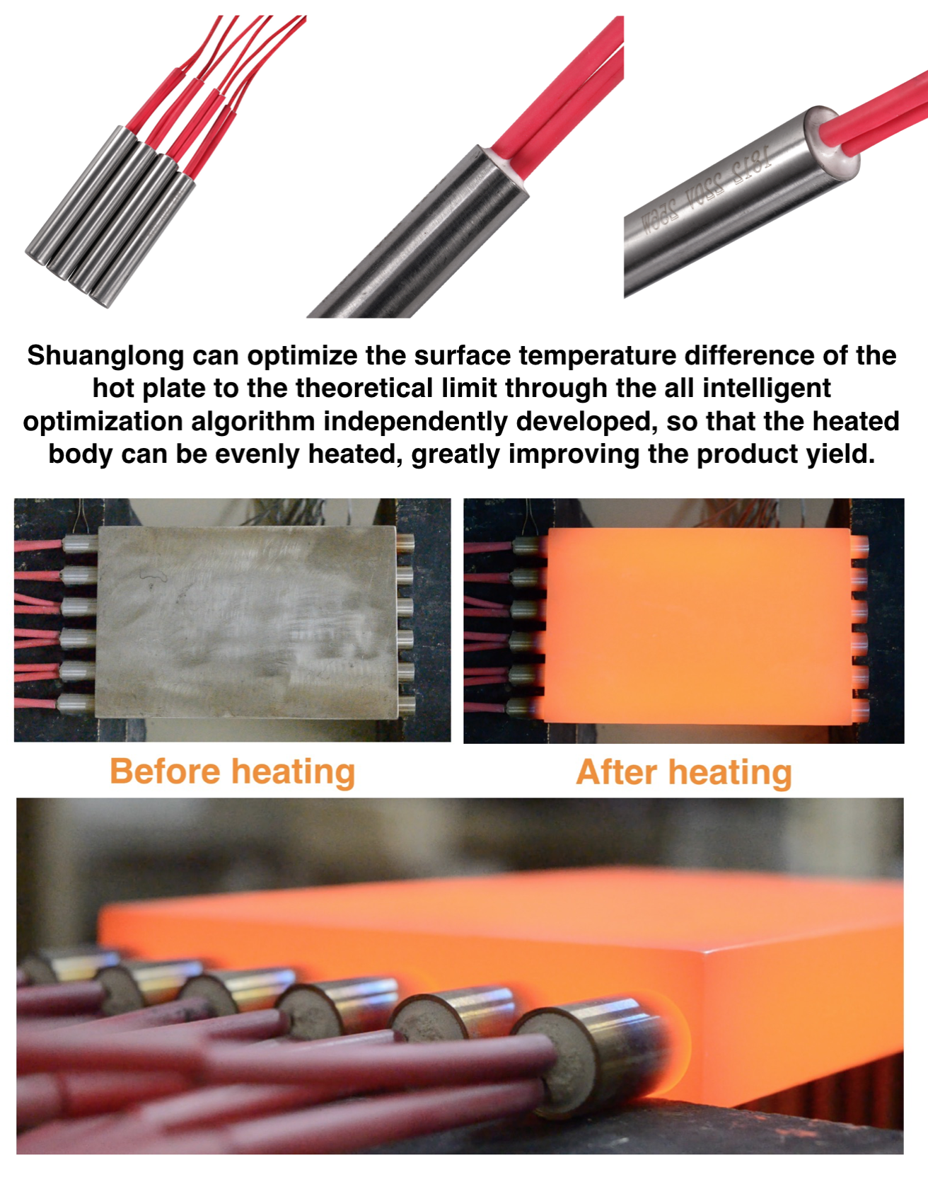 12v 220v 300w high density high temperature electric heating element cartridge heater for packing machine injection mold