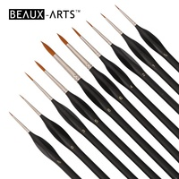 10Pcs Detail Paint Brushes Set Artist Paint Brushes Painting Supplies for Art Watercolor Acrylics Oil