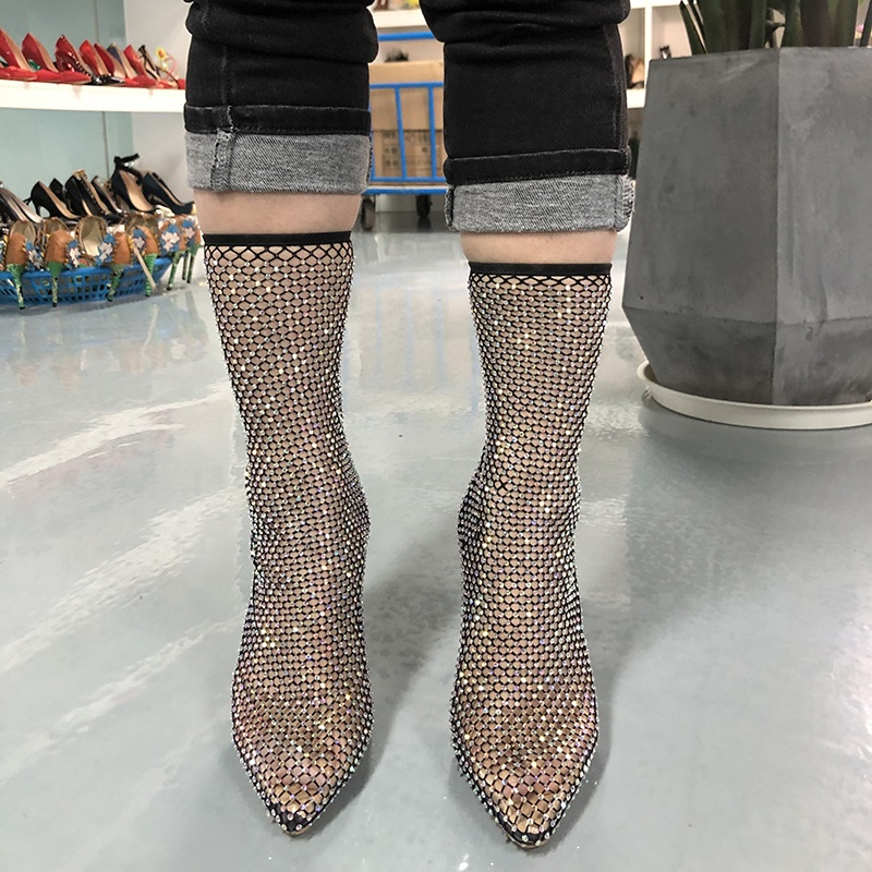 chengdu Anmairon hot sale sexy big size Heeled Thigh custom made sexy pointed toe black diamante fishnet ankle boots