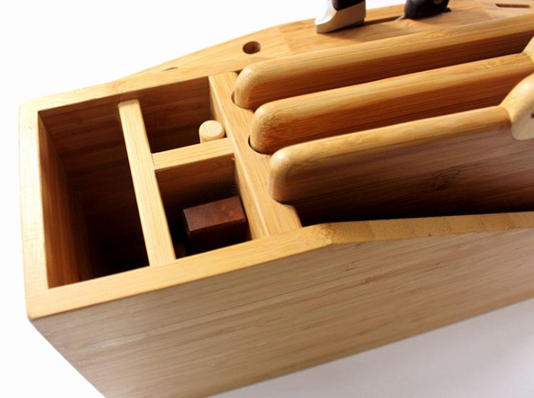 Wood Knife Holder Bamboo Knife Block Chopsticks Fork Storage Rack MSL Details 5