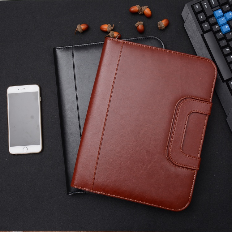 Custom A4 A5 B5 PU Leather Business Organizing Portfolio Binder File Folder with Box Bag and Case