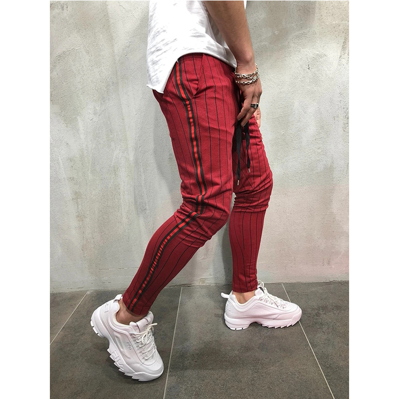 2021 fashion Slim Fit Skinny Trousers stripped casual feet pants