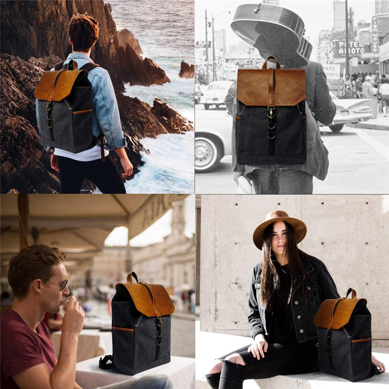 mochilas Vintage Fashion Backpack Leather military Canvas backpack Men travel women school bag pack rucksack mochila leisure