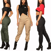 Ladies casual stretch elastic bottom cargo pants spring autumn colorful side pocket trousers pants for women