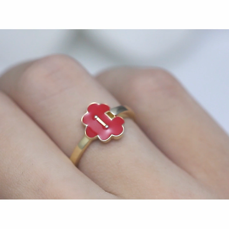 RINNTIN EQR08 New Arrival Red Enamel Ring Real 925 Sterling Silver Delicate Women Lock Rings Jewelry