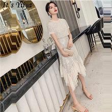 Женское платье для выпускного вечера It's Yiiya, вечерние платья в стиле пэчворк с круглым вырезом и коротким рукавом, длиной до колен, с блестка...(China)