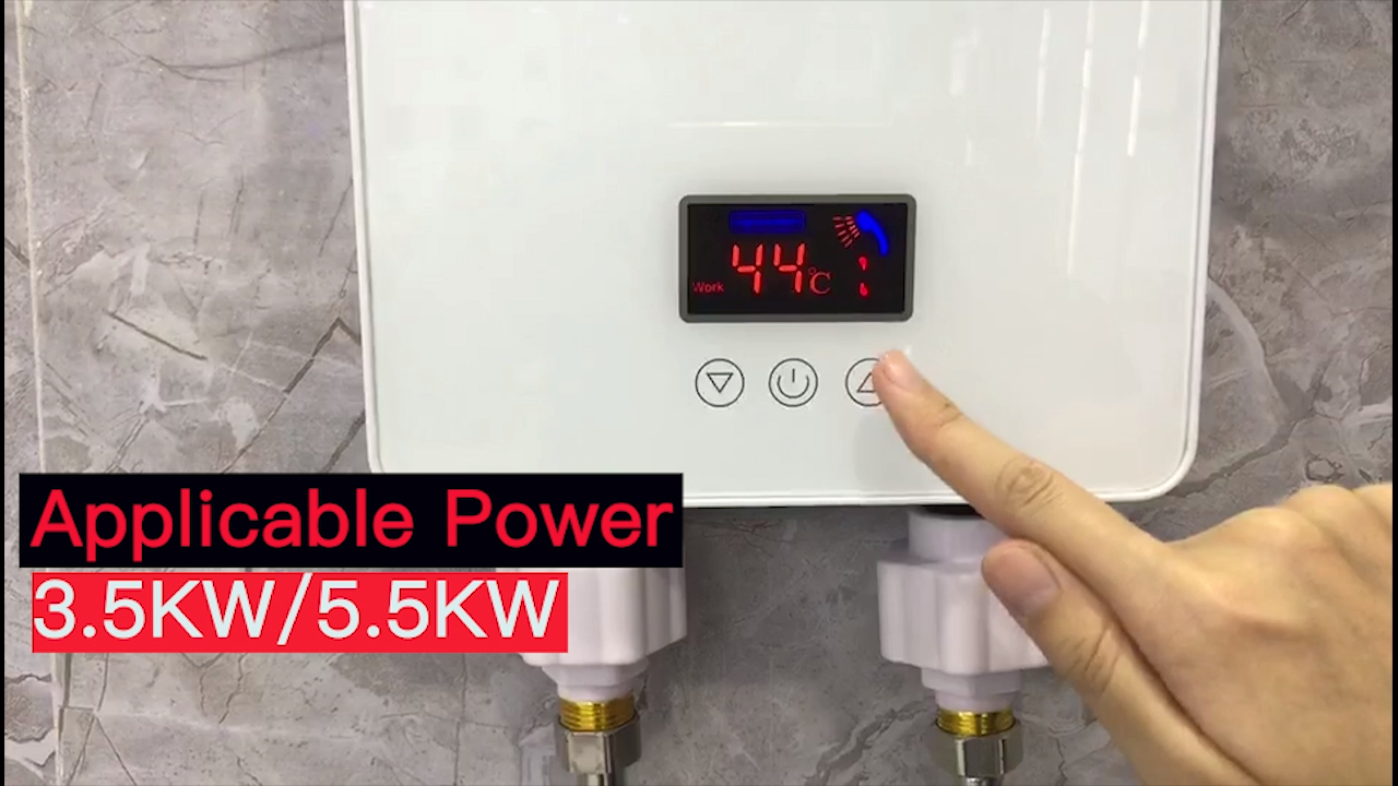 3.5/5.5kw 220v एलईडी बड़े स्क्रीन प्रदर्शन स्मार्ट दीवार घुड़सवार बाथरूम रसोई स्नान त्वरित विद्युत tankless गर्म पानी हीटर