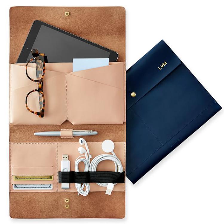 Gift USB earphone charger bag leather envelope travel folding storage bag cable organizer bag case