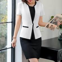 Женский офисный костюм, деловой костюм из двух предметов, элегантный дизайн, летнее платье-блейзер размера плюс 5XL(Китай)