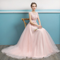 Hot sale popular pink color bridal dress party wedding wearing customized size