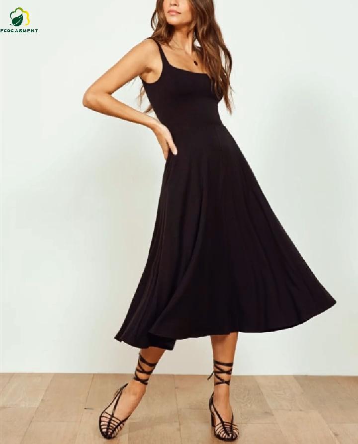 2020 夏ホット販売カスタム竹女性パーティーミディカジュアルドレスエコフレンドリー通気性黒ロングドレス