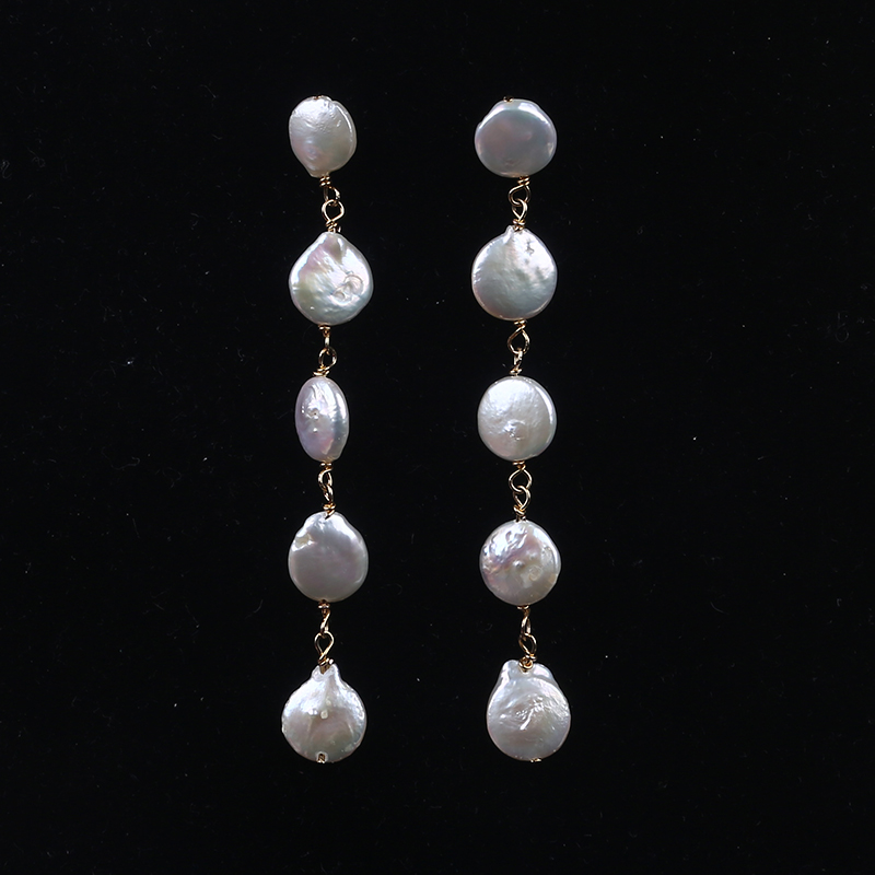 High quality long style freshwater pearl earrings long beaded pearl stud earrings for woman