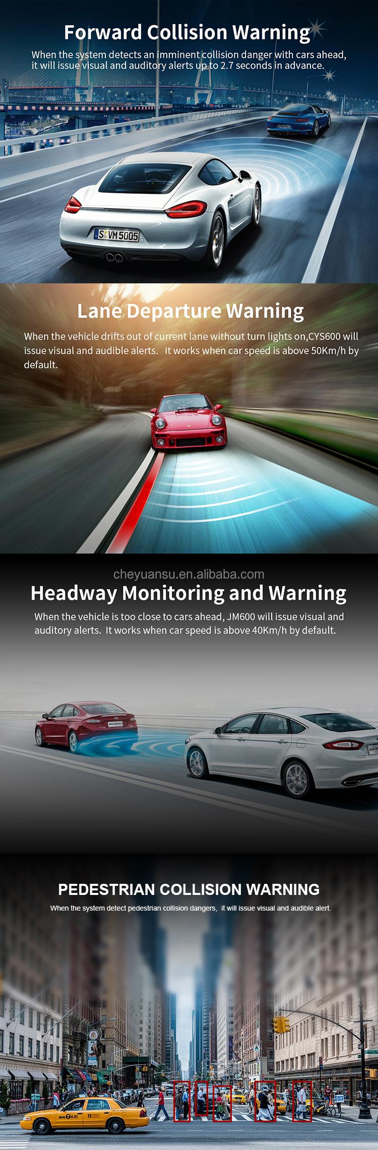 Adas 運転記録抗レーン逸脱警告 LDWS & FCWS 前方衝突警報システム
