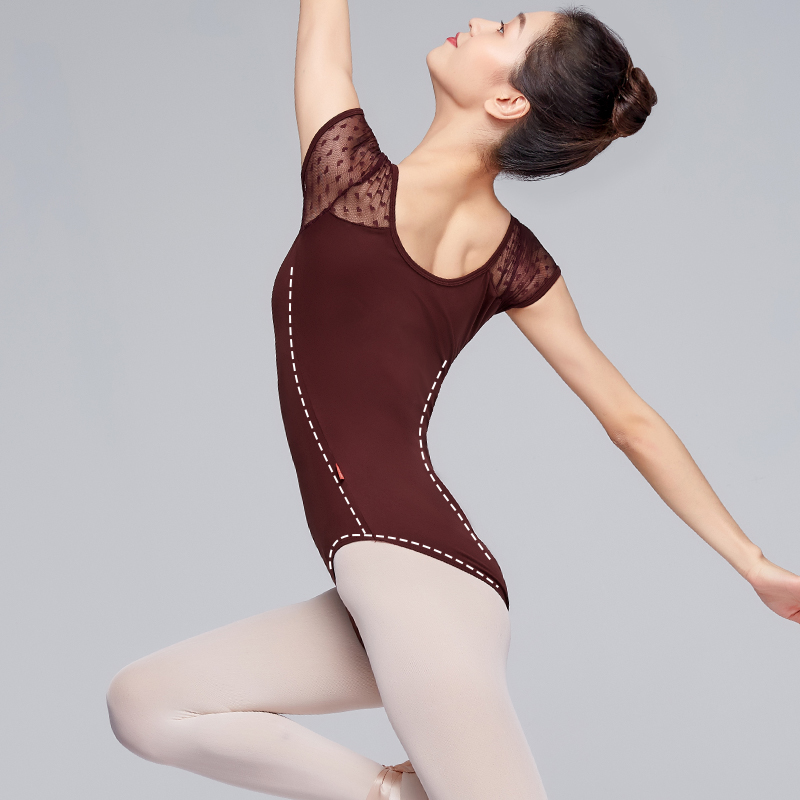 Women Ballet Dance Leotards Adult V-Neck Lace Splice Short Sleeve Jumpsuit