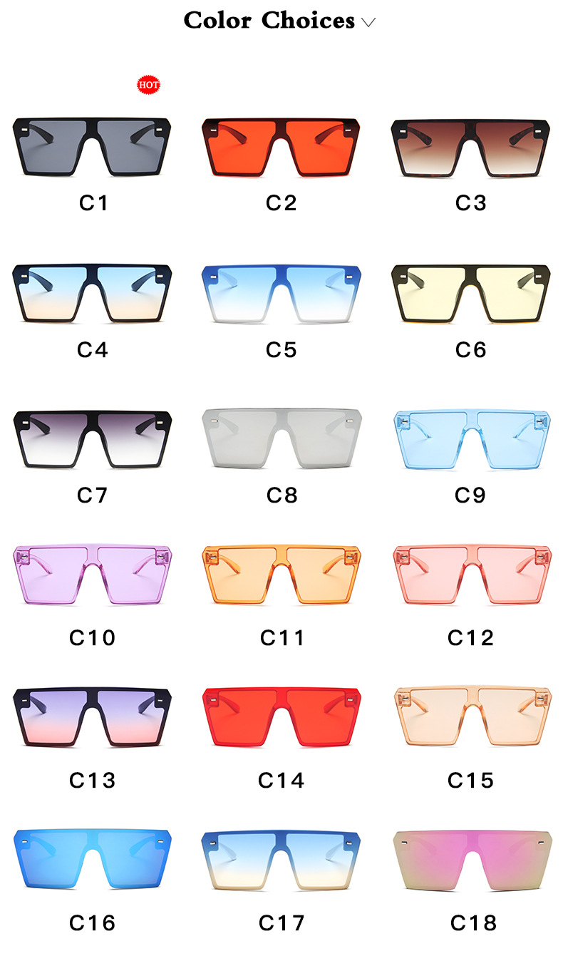 2020 Hot Selling Fashion Vintage Men Women Big Frame One Piece Lens Sunglasses Oversized Square Sunglasses