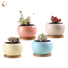 Quality 3.5inch matt glazed round small ceramic flower succulent pots with bamboo tray wholesale