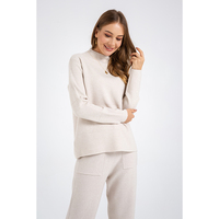 Stand Loose Long Sleeve Sweater Suit Pocket Women's Girl Knitted Sweater