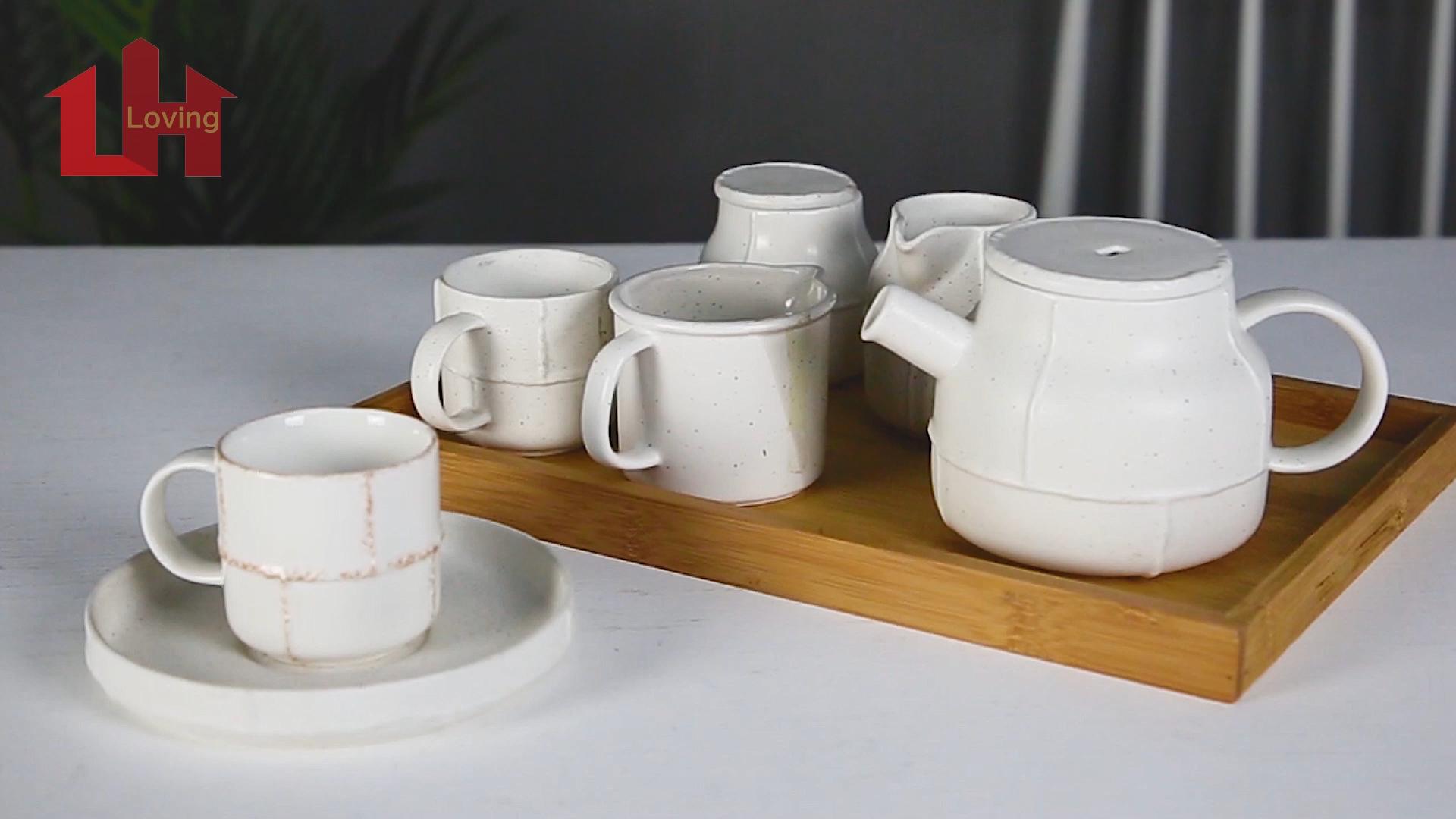 Rustic antique old white ceramic tea cup sets retro style reactive glazed porcelain coffee set
