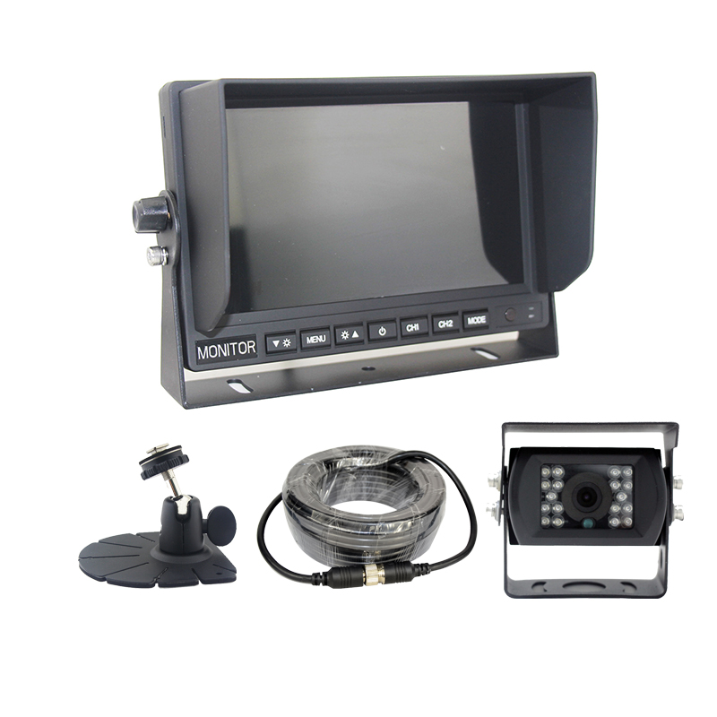 2 cameras input 7inch tft lcd car sun visor monitor with backup camera and extension cable 20M 4pin fan bracket for option