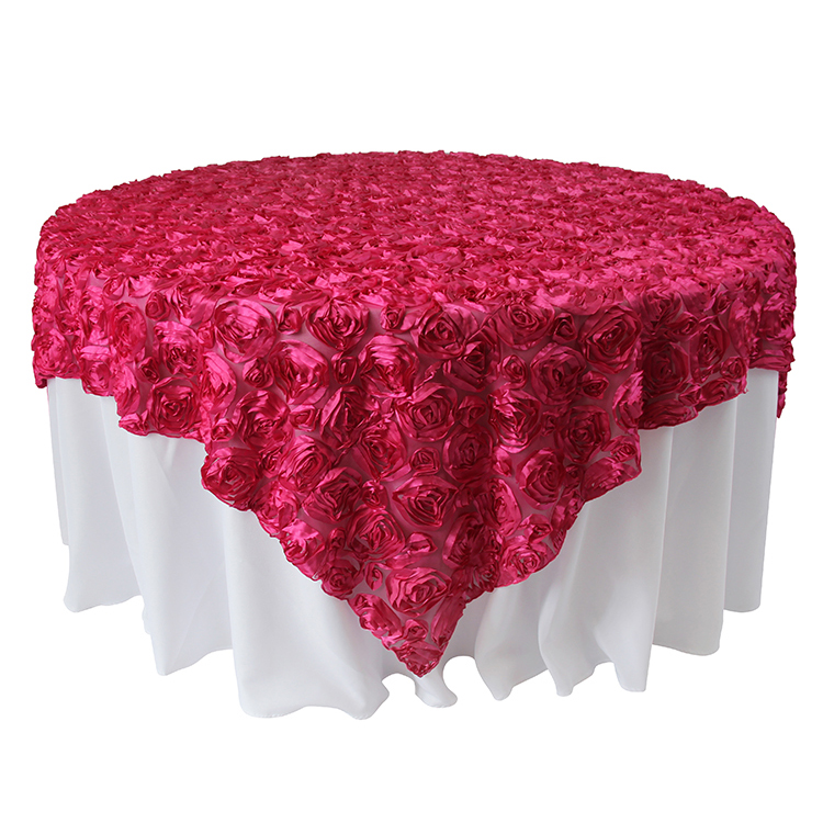 TX00422 wedding rosette satin custom round cloth table cloth