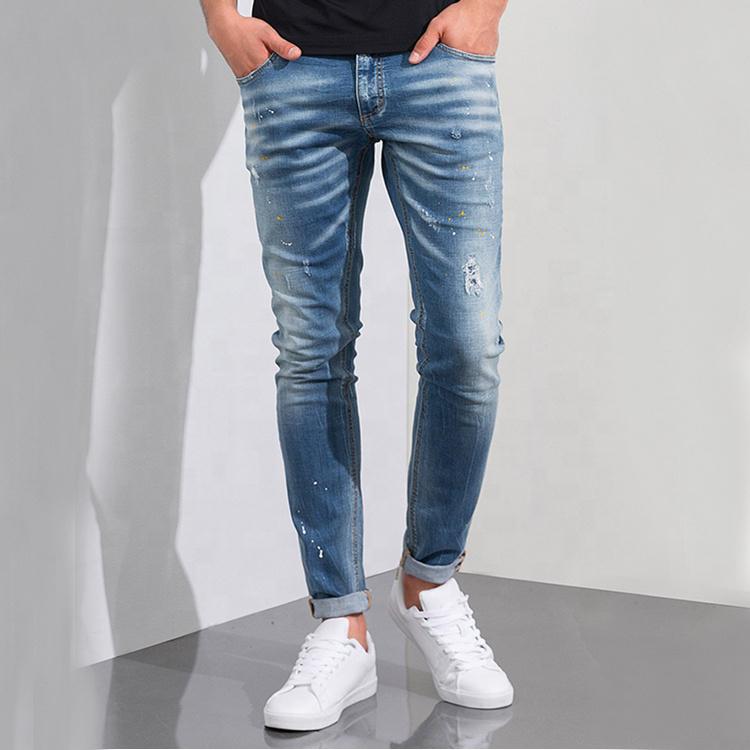 Toptan doğrudan fabrika fiyat moda klasik özel skinny denim yırtık kot pantolon erkekler için