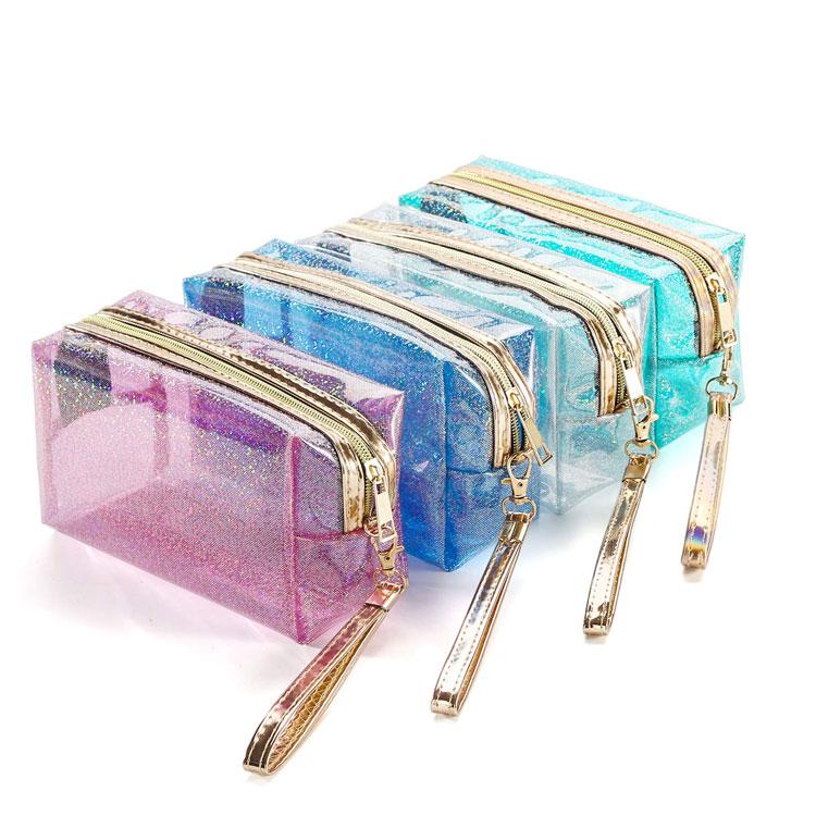 2020 new arrivals clear pvc glitter bag custom waterproof hologram zipper transparent zipper pvc cosmetic bag