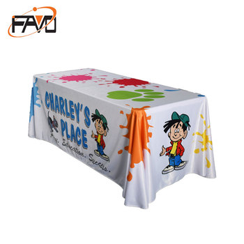 Custom printed advertising fitted spandex table cloth for trade show