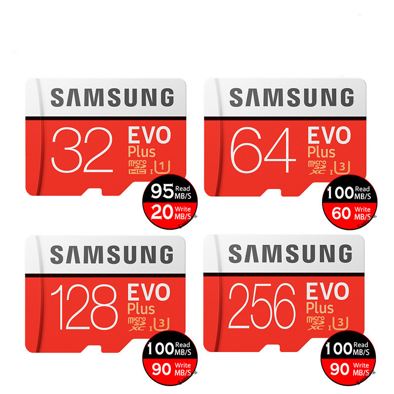 100% Original Bulk 32GB 64GB Microsd 128GB MicroSDHC 256GB Micro TF Memory Cards EVO Plus Class 10 UHS-1 UHS-3 Samsung SD Card