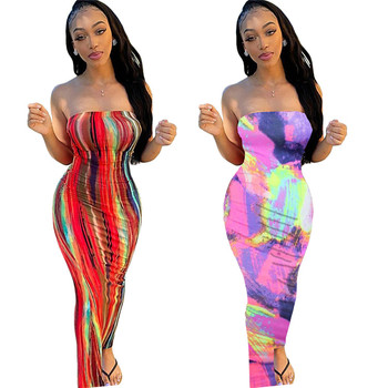 2020 Strapless Lady Nipped Waists Tie Dye Plus Size Summer Women Sexy Long Dresses Clothing