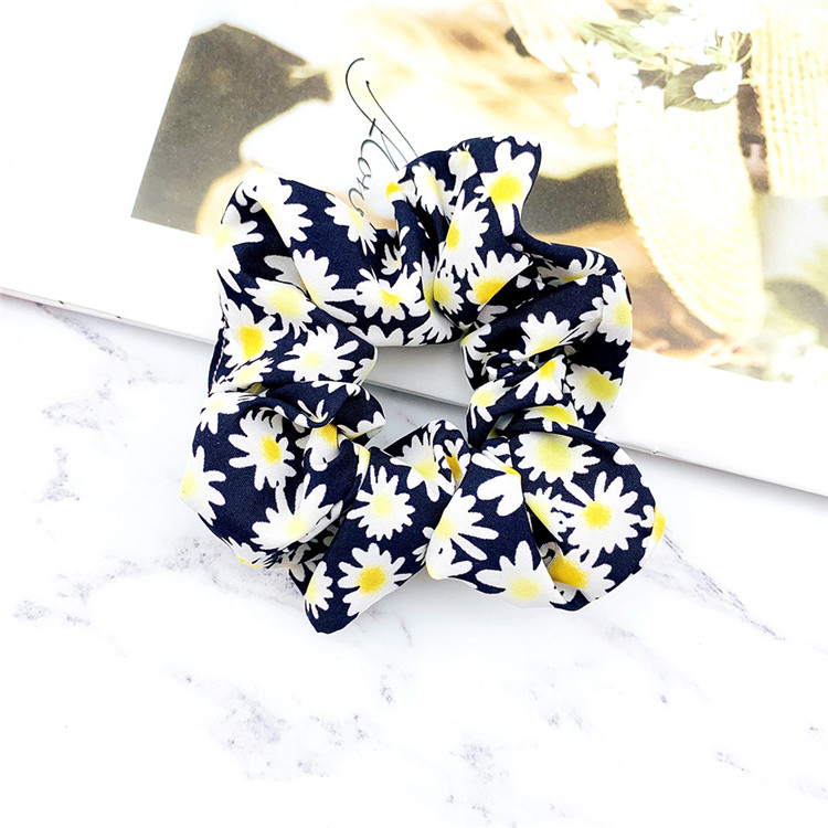 Promotion high quality hair tie pattern scrunchie real flower paint hair curly spring scrunchies