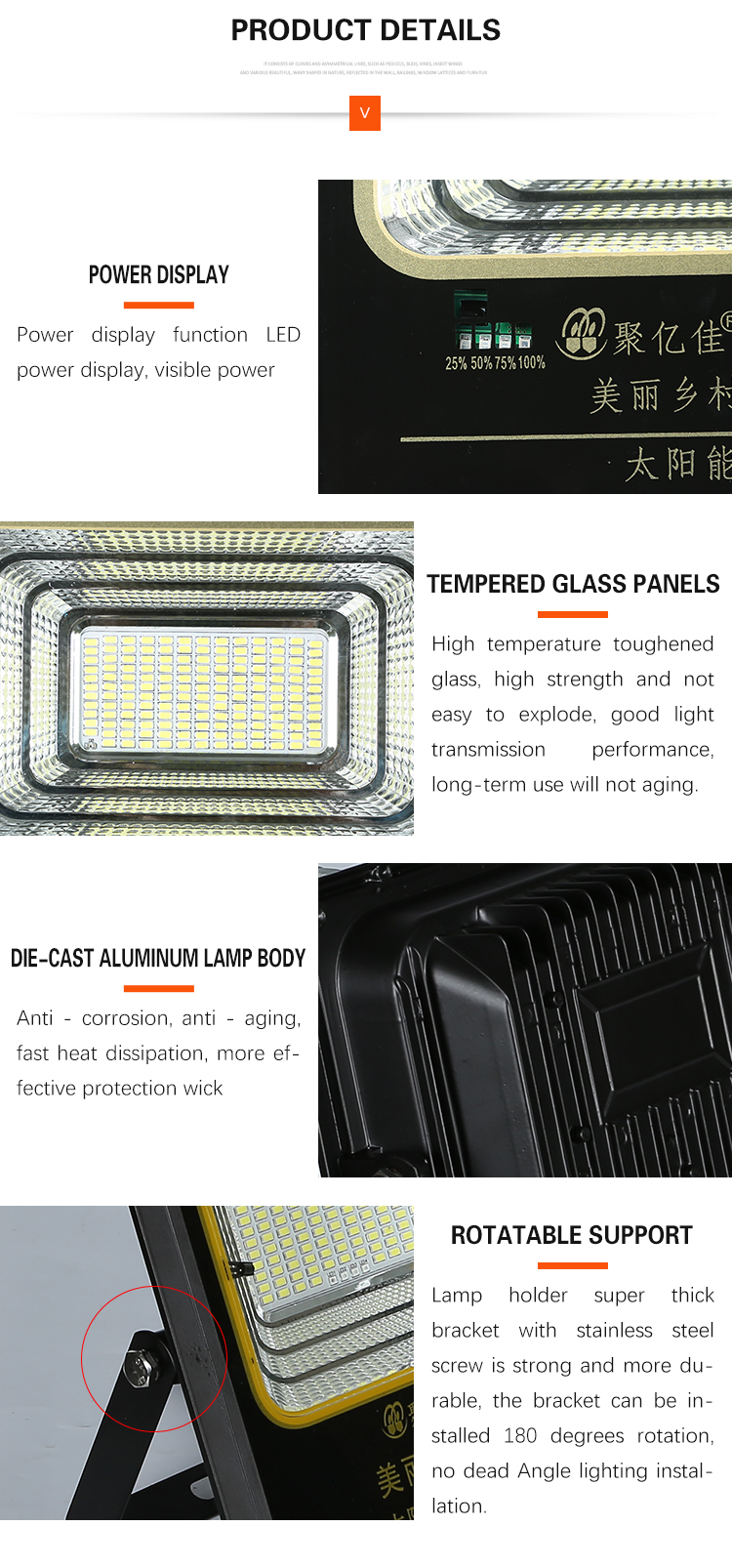 Latest design Ip67 waterproof Aluminum 120w 200w solar led floodlight