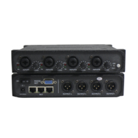 Dante audio 4 in 4 out transmitter audio system interface with 4 volume controls