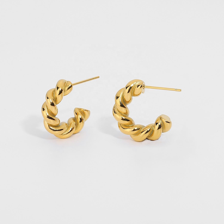 Twisted Spiral Style Hoops Loop Earrings For Women 18K Gold plated stainless steel Hoop Earrings