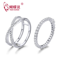 s925 sterling silver jewelry female silver ring fine cubic zircon double overlay wedding rings