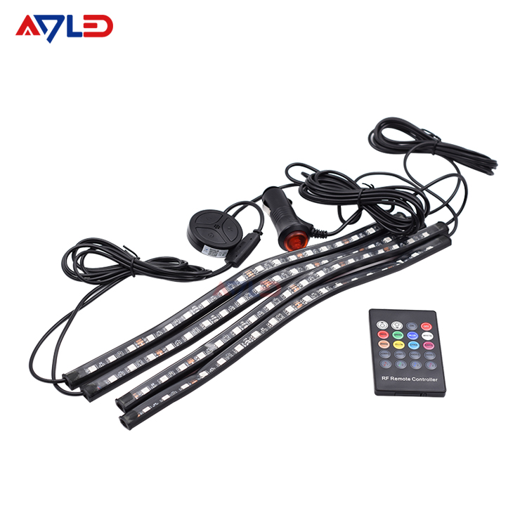 Car Decoration Retail Bluetooth 4PCS RGB LED Strip Decorative Atmosphere Lamps Interior Ambient Light With Remote 12v
