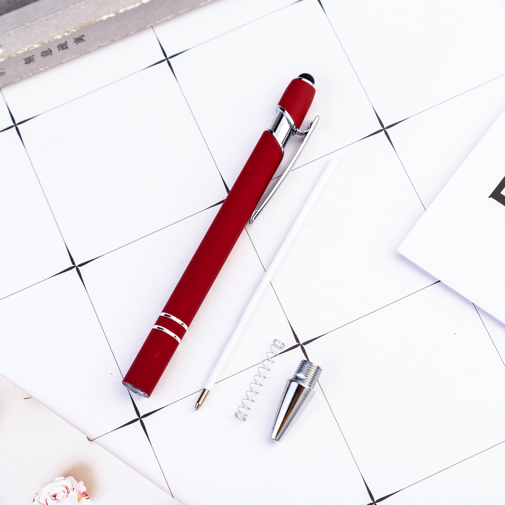 Promotional Gift Custom Logo Soft Touch Ballpoint Pen with Stylus Premium Metal Pen