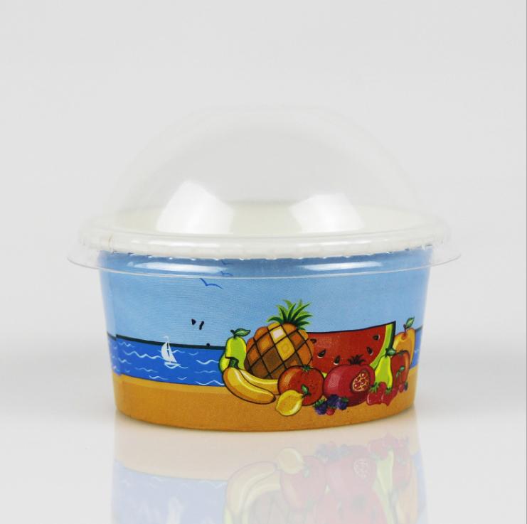 Vários tamanhos de papel descartáveis tigela de sorvete e frozen yogurt cup com tampas de plástico