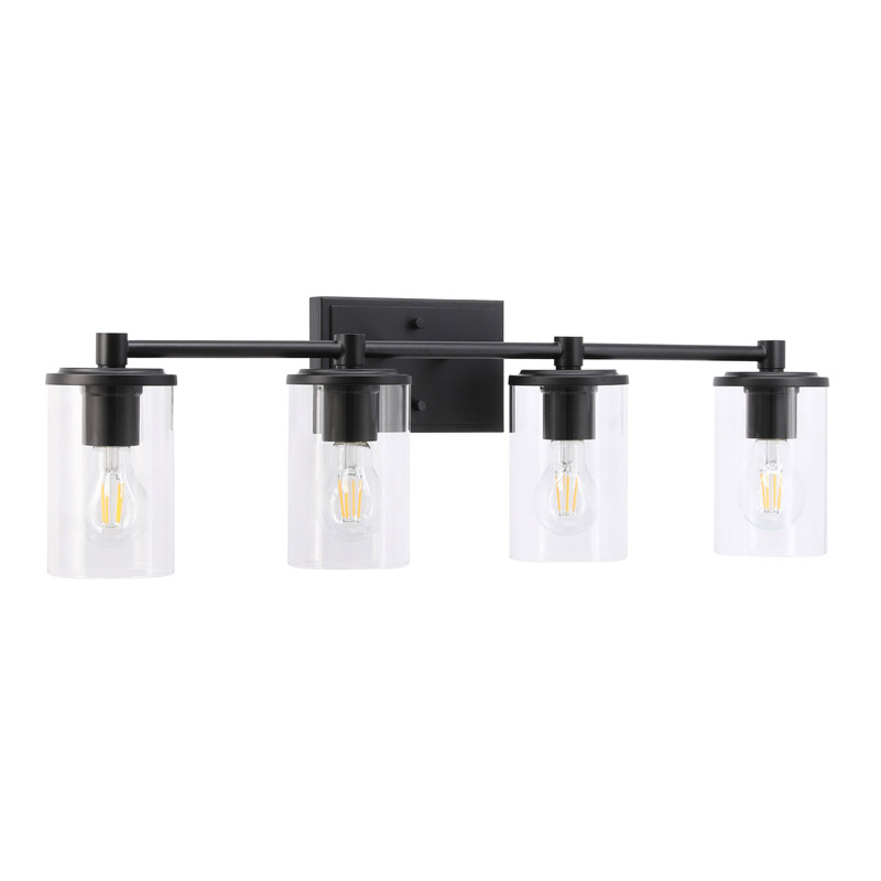 Modern Wall Light Fixture 4 Light Bathroom Vanity Lighting with Clear Glass in Matte Black Finished