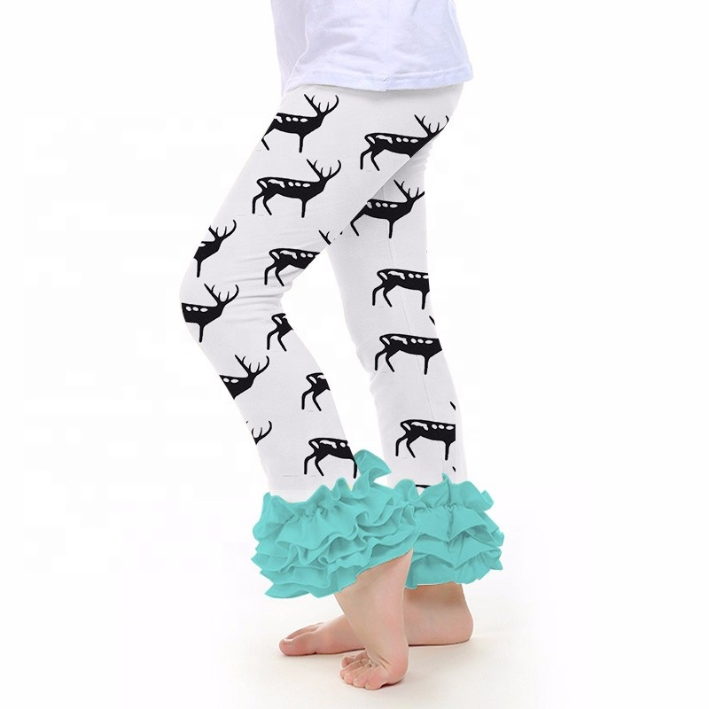 Hot sale christmas design kids clothes baby leggings girl ruffle pants