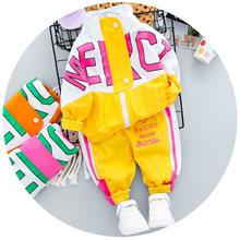 Осенняя детская одежда для мальчиков и девочек, 2020 г. Новый Повседневный спортивный костюм набор застежек на молнии с длинными рукавами и на...(Китай)